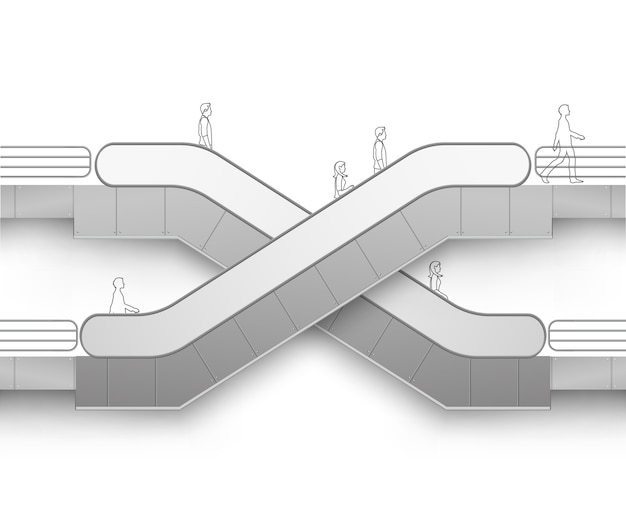 Moderne rolltreppe mit platz für werbung seitenansicht lokalisiert auf weißem hintergrund