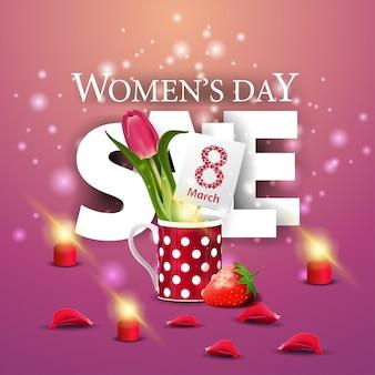 Moderne rosa fahne des rabattes der frauen tagesmit tulpe in einer tasse