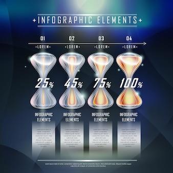 Moderne sanduhr-infografik-elemente-vorlage über high-tech-hintergrund