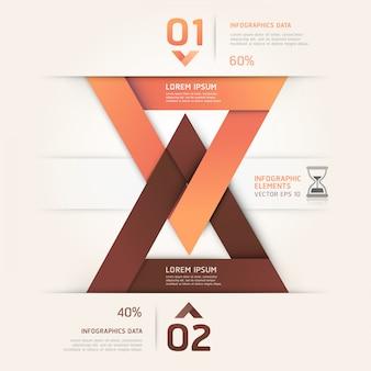 Moderne sanduhr-origamiart. workflow-layout, diagramm, nummerierungsoptionen, optimierungsoptionen, webdesign, infografiken.