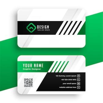 Moderne schablone der grünen visitenkarte