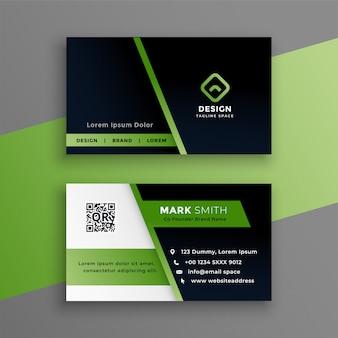 Moderne schablone der professionellen grünen visitenkarte