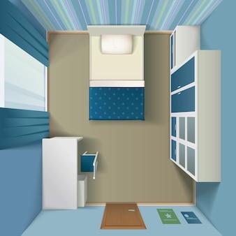 Moderne schlafzimmerinnere realistische draufsicht