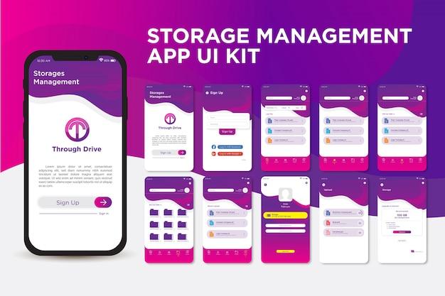 Moderne schlanke lila speicherverwaltungs-app-ui-kit-vorlage