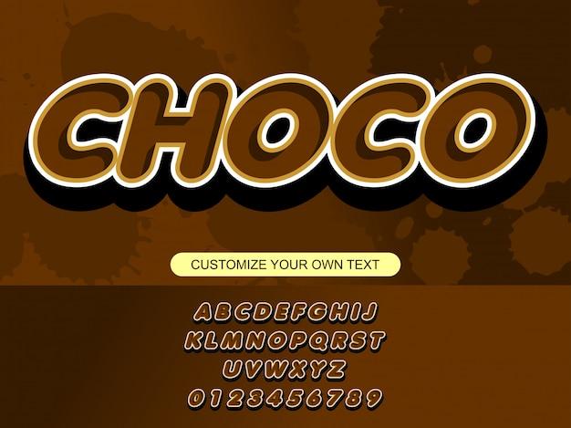 Moderne schokolade mutige modische editierbare typografie