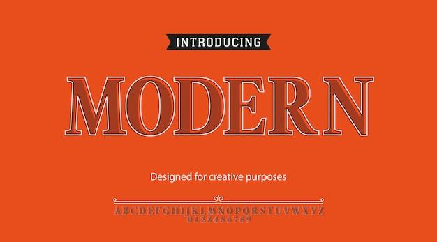 Moderne schrift. schriftart mit alphabet und zahlen