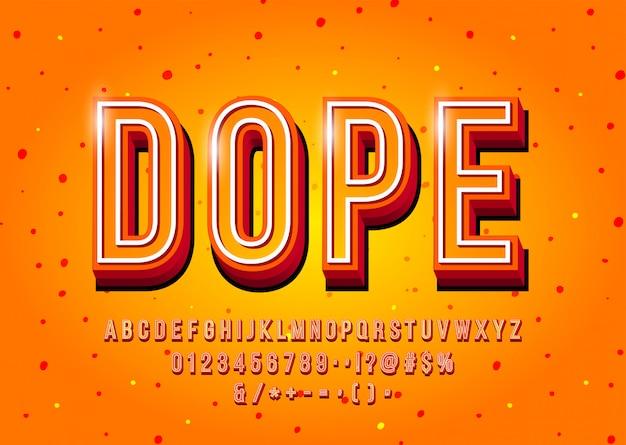Moderne schriftart, alphabet, buchstaben und zahlen der anzeige 3d. vektor
