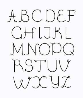 Moderne schriftart mit dünner linie und langem schatten