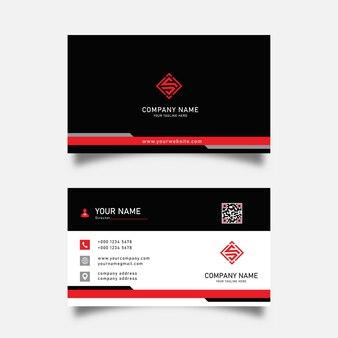 Moderne schwarz-rote visitenkarten-designvorlage