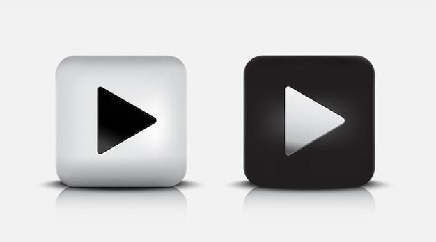 Moderne schwarz-weiße wiedergabetaste 3d