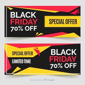 Moderne schwarze freitag-fahnen mit flachem design