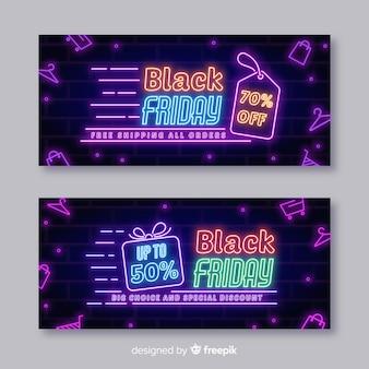 Moderne schwarze freitag-fahnen mit neonlichtern