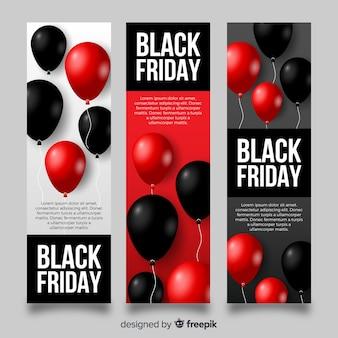 Moderne schwarze freitag-fahnen mit realistischen ballonen