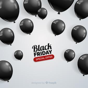 Moderne schwarze freitag-komposition mit realistischen ballons