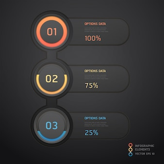 Moderne schwarze infografiken. workflow-layout, diagramm, webdesign, nummernoptionen.