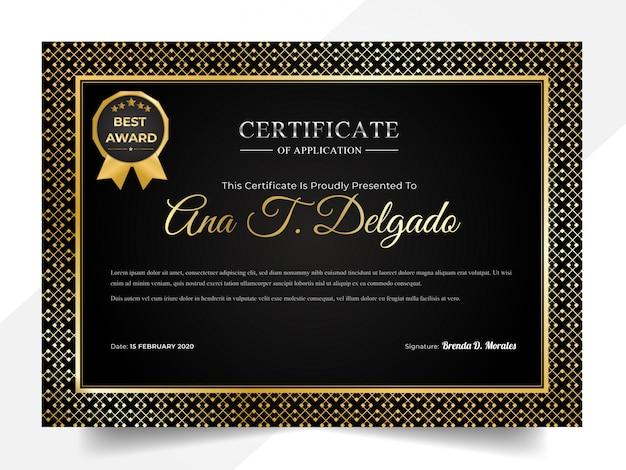 Moderne schwarze und goldene zertifikatschablone