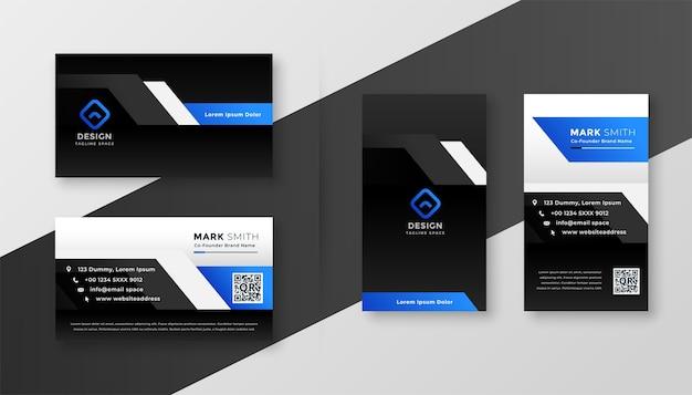 Moderne schwarze visitenkarte mit blauen formen