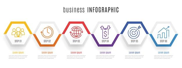 Moderne sechseck-zeitachse-infografik-vorlage 6 schritte