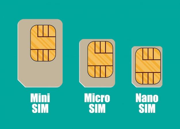 Moderne sim-kartengrößen, mini, micro, nano