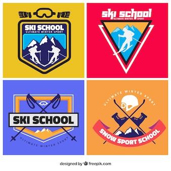Moderne ski-schule abzeichen