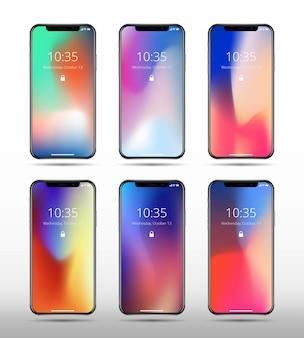 Moderne smartphonemodelle mit abstrakten zeitgenössischen farbbildschirmen