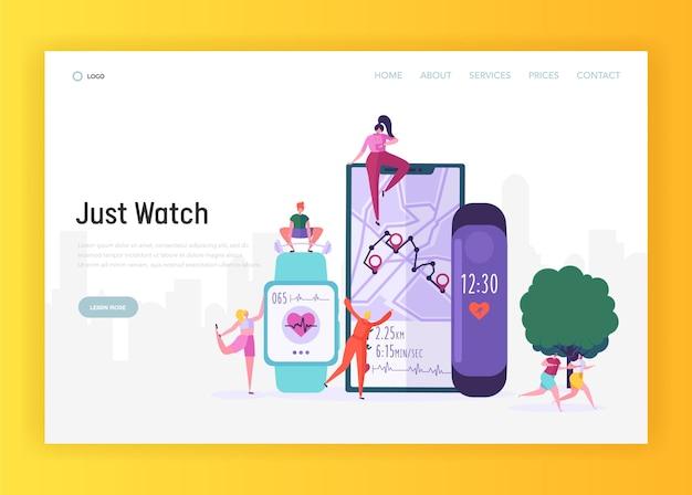 Moderne smartwatch für sportler landing page. die sportuhr enthält einen aktivitäts-fitness-tracker zur überwachung der website oder webseite für rundenzeit, herzfrequenz und routenverfolgung. flache karikatur-vektor-illustration