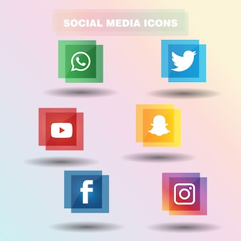 Moderne social media-ikone stellte in flaches design ein