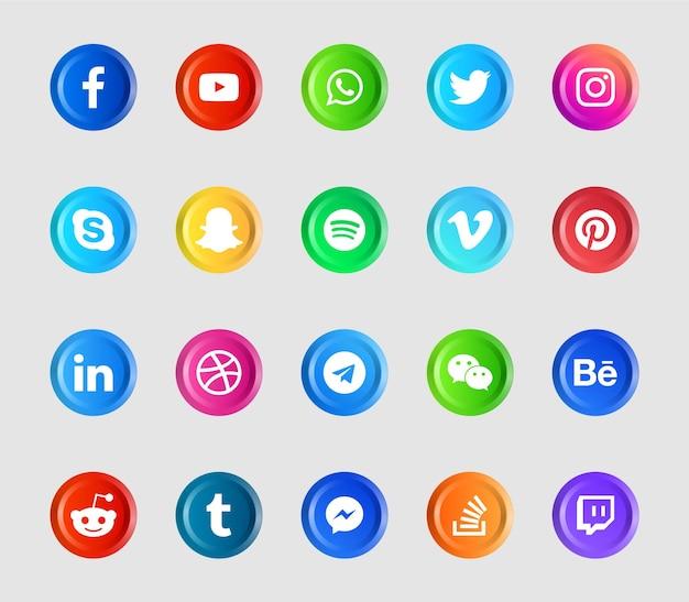 Moderne social media logos und icons eingestellt