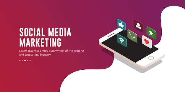 Moderne social media-marketing-illustration, schablone
