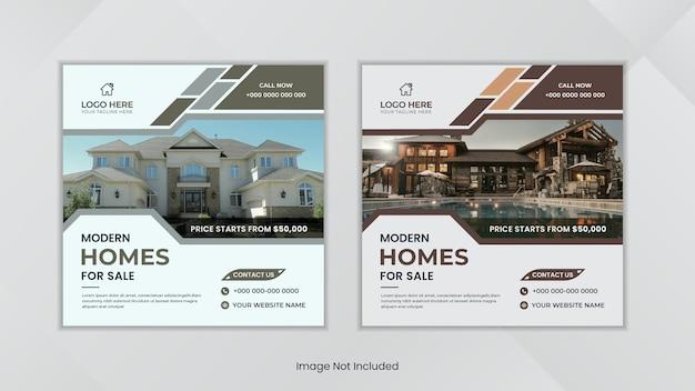 Moderne social-media-posts für immobilien mit minimalem design mit einfachen formen.