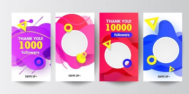 Moderne soziale medien folgen uns banner mit flüssigen verlaufsformen, mit dreieckigen runden dekorelementen