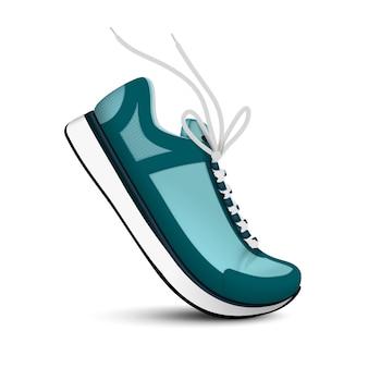 Moderne sportschuhe der blauen farbe mit realistischem einzelbild der weißen schnürsenkel auf lokalisierter illustration des weißen hintergrunds