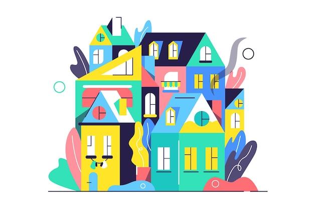 Moderne stadt der häuser im flachen stil, oben, lokalisiert auf weißem hintergrund, flache illustration