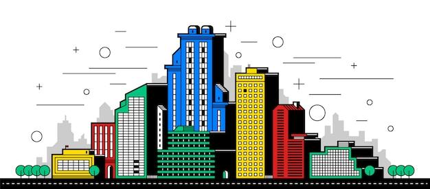 Moderne stadt illustration. türme und gebäude auf weißem hintergrund