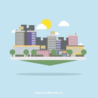 Moderne stadt in flaches design