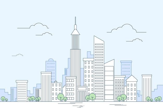 Moderne stadt megalopolis-ansicht-wolkenkratzer-stadtbild
