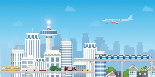 Moderne stadt mit landstraßen-straßen-und untergrundbahn über wolkenkratzern.