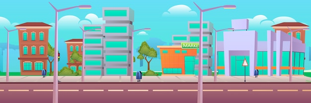 Moderne stadt, stadtstraße, wohnung