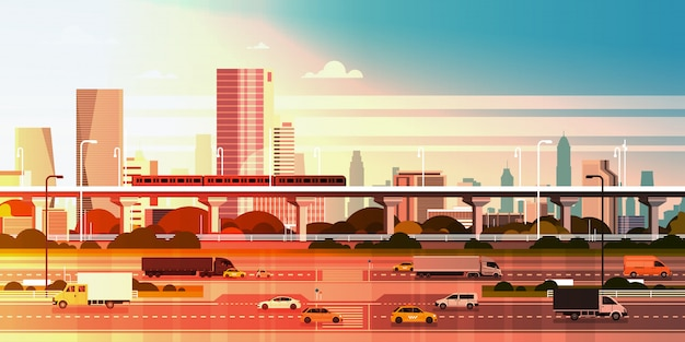 Moderne stadt über sonnenuntergangillustration stadtbild mit landstraßen-straße und u-bahn über wolkenkratzer-gebäuden