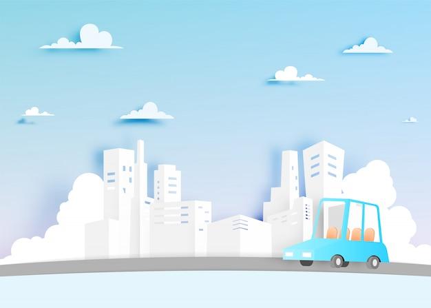 Moderne stadt und auto in der papierkunstart mit pastellfarbvektorillustration