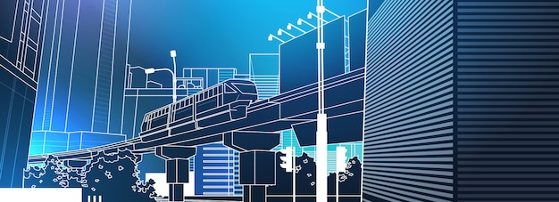 Moderne stadtansicht mit eisenbahnbrücke