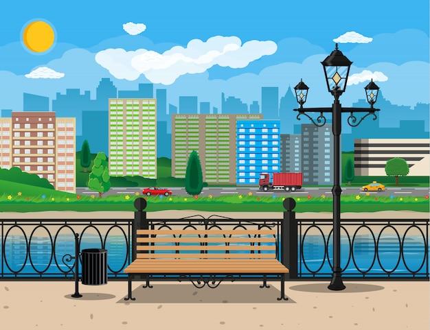 Moderne stadtansicht. uferpromenade, fluss, damm