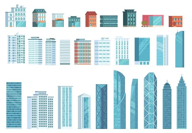 Moderne stadtgebäude. stadt wolkenkratzer gebäude, stadthäuser, geschäftsbüro wolkenkratzer illustration set.