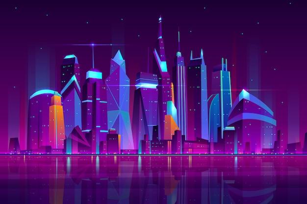 Moderne stadtkarikaturvektornachtlandschaft. städtischer stadtbildhintergrund mit den wolkenkratzergebäuden auf dem seeufer belichtet mit neonlichtillustration. metropole zentrales geschäftsviertel