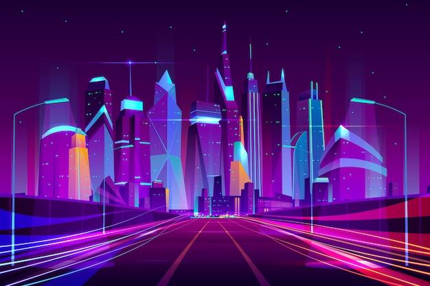 Moderne stadtlandstraße in den straßenlaternen leuchten neonkarikaturvektorillustration
