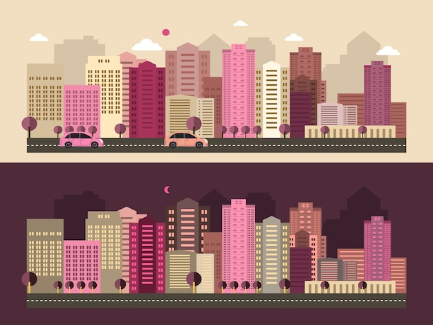 Moderne stadtlebenslandschaft im flachen design