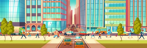 Moderne stadtstraße am stundeneile-karikaturvektorkonzept. leute, die in geschäft, gehender bürgersteig der stadtbewohner, die fußgänger führen kreuzungen, autofahrt auf die straße, fest in der stauillustration sich beeilen
