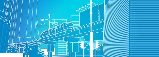 Moderne städtische zug-dünne linie stadtbild der eisenbahn