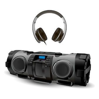Moderne stereo-recorder-boombox mit kopfhörer