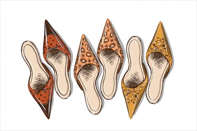 Moderne stilvolle animalische frauenmaultierskizze